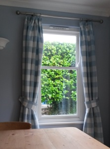 Laura Ashley Whitby Check Fabric Curtains with Tiebacks