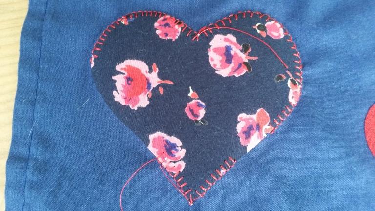 Blanket stitch applique heart