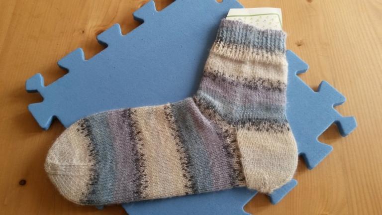Sock on homemade sock blocker