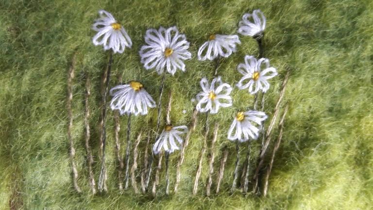 Embroidered Daisies on felt