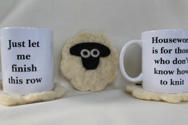 Felted Sheep Coaster and knitters mugs