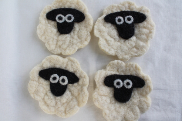 Felted Sheep Coasters